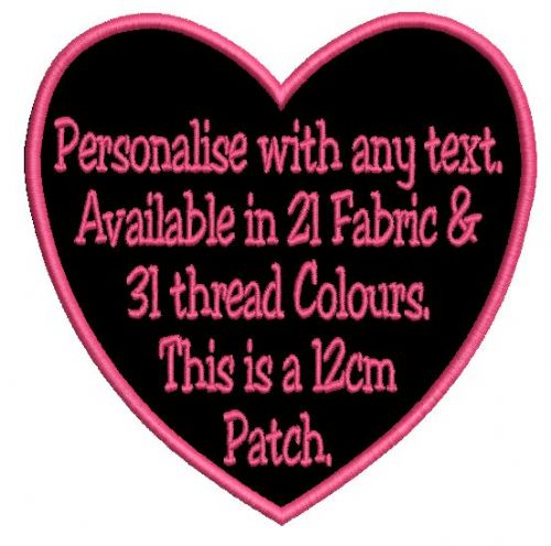 Heart 12cm Patch - Add any text.
